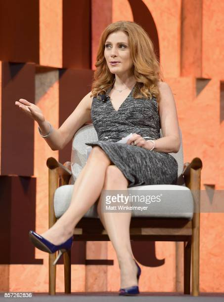 Moderator Julia Boorstin speaks onstage during Vanity Fair New Establishment Summit at Wallis Annenberg Center for the Performing Arts on October 3...