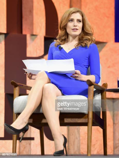 Moderator Julia Boorstin speaks onstage during Vanity Fair New Establishment Summit at Wallis Annenberg Center for the Performing Arts on October 4...