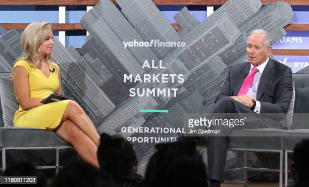 Moderator Julia La Roche ad CEO of the Blackstone Group Stephen Schwarzman attend the Yahoo Finance All Markets Summit at Union West Events on...