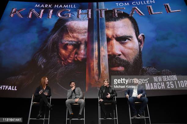 Moderator Kate Hahn Tom Cullen Mark Hamill and Aaron Helbing attend the Knightfall For Your Consideration Event in Los Angeles on March 19 2019 in...