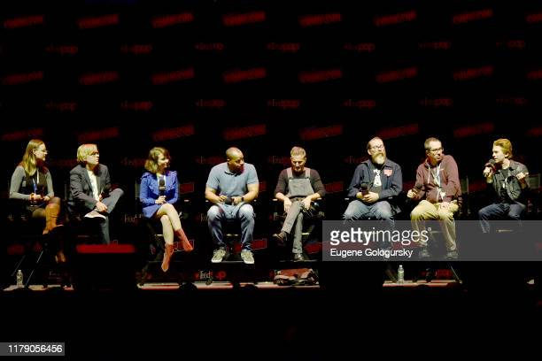 Moderator Kate Knibbs Tom Sheppard Milana Vayntrub Donald Faison Breckin Meyer John Harvatine Matthew Senreich and Seth Green speak onstage during...