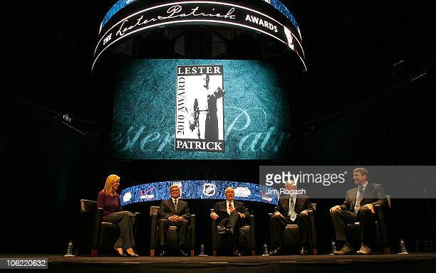 Moderator Kathryn Tappen speaks with Lester Patrick Trophy honorees David Andrews Jack Parker Jerry York and Cam Neely during a Celebration of Lester...