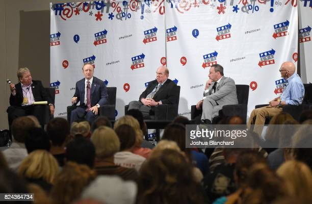 Moderator Ken Rudin Paul Begala Bob Shrum David Frum and James Carville at 'Art of the Campaign Strategy' panel during Politicon at Pasadena...