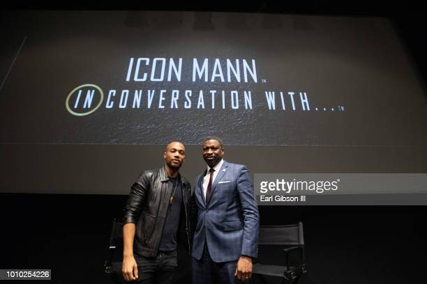 Moderator Kendrick Sampson and President/CEO of NAACP Derrick Johnson pose for a photo at ICON MANN And CAA In Conversation with Derrick Johnson at...