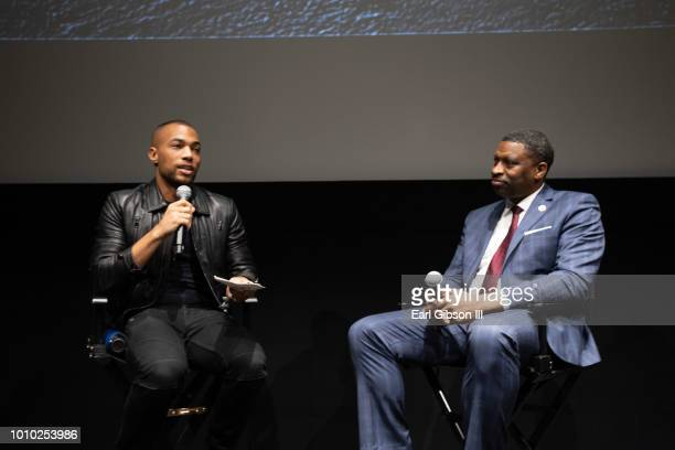 Moderator Kendrick Sampson and President/CEO of the NAACP Derrick Johnson speak onstage at the ICON MANN And CAA In Conversation With Derrick Johnson...