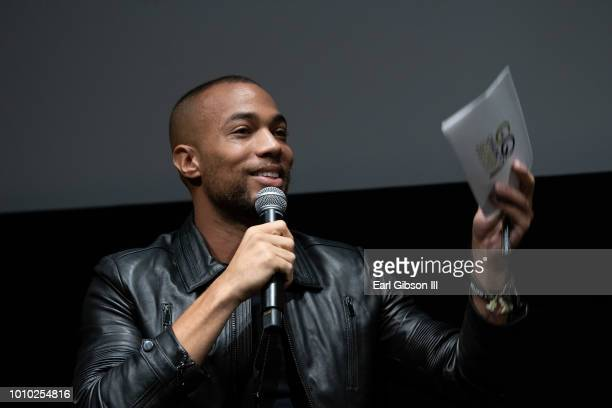 Moderator Kendrick Sampson speaks onstage at the ICON MANN And CAA In Conversation With Derrick Johnson at CAA on August 2 2018 in Los Angeles...