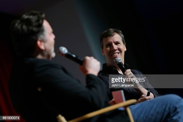 Moderator Kevin Maher and author Jeff Kinney speak during the 10 year anniversary of Diary of a Wimpy Kid discussion at the BookCon 2017 at Javits...