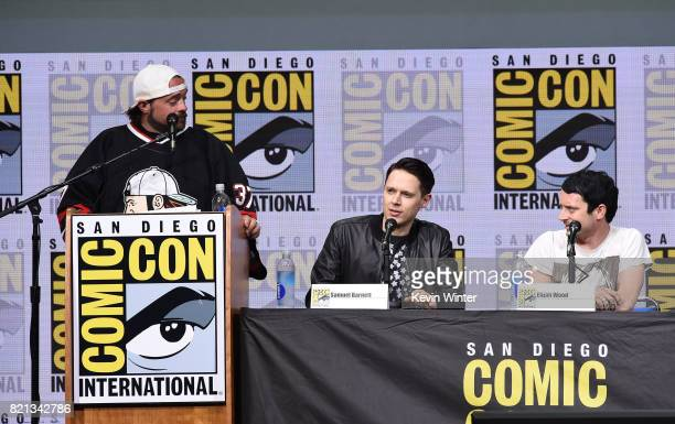 Moderator Kevin Smith actors Samuel Barnett and Elijah Wood at Dirk Gently's Holistic Detective Agency BBC America Official Panel during ComicCon...