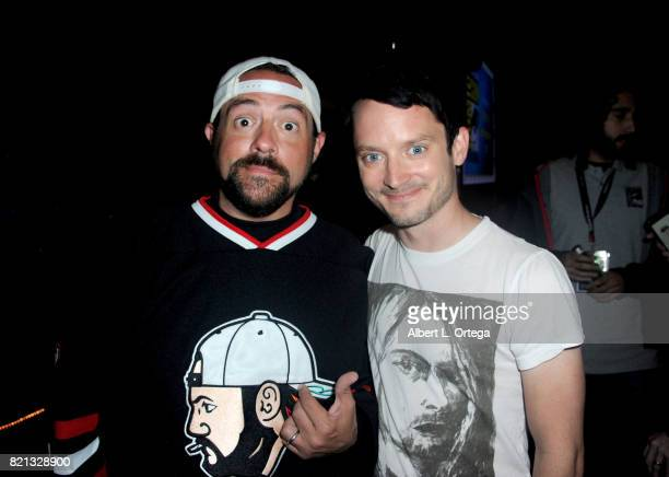 Moderator Kevin Smith and actor Elijah Wood at Dirk Gently's Holistic Detective Agency BBC America Official Panel during ComicCon International 2017...
