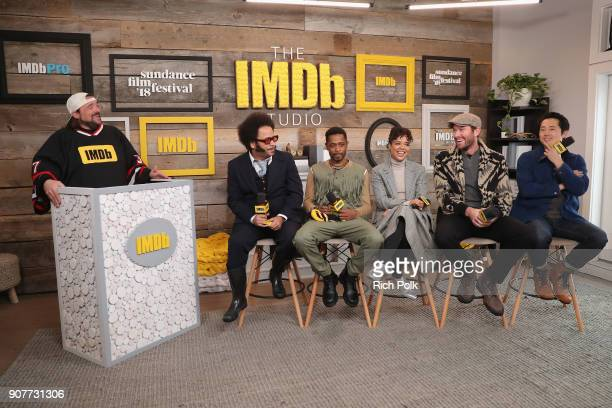 Moderator Kevin Smith Boots Riley Lakeith Stanfield Tessa Thompson Armie Hammer and Steven Yeun of 'Sorry To Bother You' attend The IMDb Studio and...