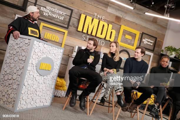 Moderator Kevin Smith Sam Levinson Suki Waterhouse Bill Skarsgard and Abra of 'Assassination Nation' attend The IMDb Studio and The IMDb Show on...