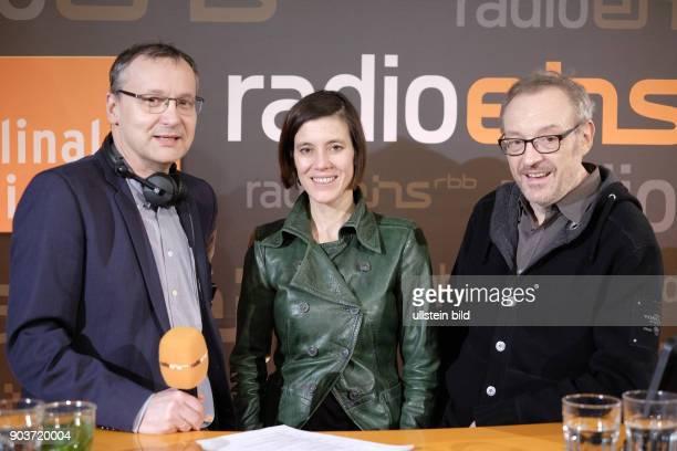 Moderator Knut Elstermann mit Regisseur Josef Hader und Schauspielerin Pia Hierzegger zu Gast im RadioEins Berlinale Nighttalk aus der XXLounge...