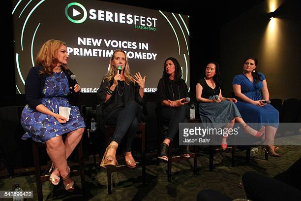 Moderator Krista Smith and panelists Jennifer Salke Tracey Pakosta Grace Wu and Lauren Ash speak in the 'New Voices in Prime Time Comedy' panel...