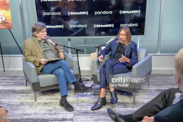Moderator Kurt Loder with singer/songwriter Iggy Pop as he discusses his career during a town hall at SiriusXM Studios on September 12 2019 in New...