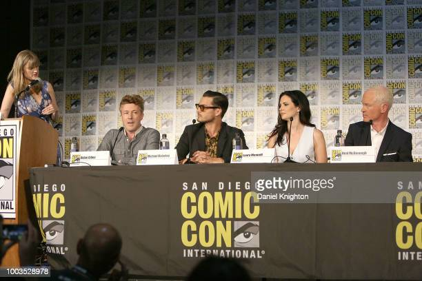 Moderator Laura Prudom actors Aidan Gillen Michael Malarkey Laura Mennell and Neal McDonough attend the Project Blue Book panel at ComicCon...