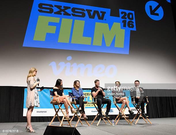 Moderator Laura Pudrom actors Melanie Papalia Priscilla Faia Greg Poehler and Rachel Blanchard and Creator of You Me Her John Scott Shepherd speak on...