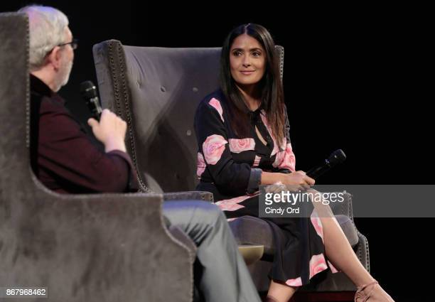 Moderator Leonard Maltin and actress Salma Hayek onstage at 'Beatriz at Dinner' Q&A during the 20th Anniversary SCAD Savannah Film Festival on...
