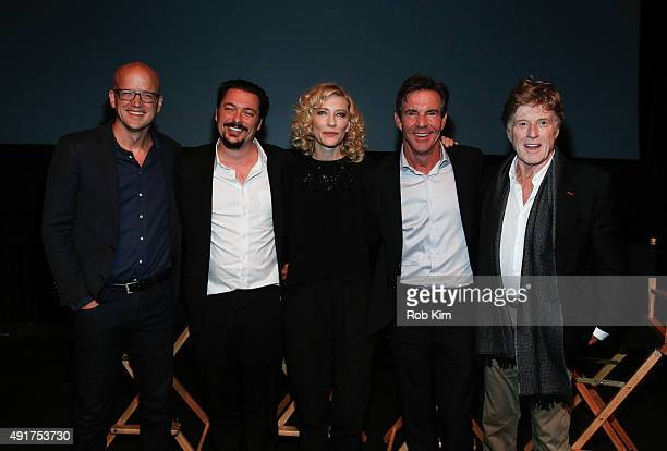 Moderator Logan Hill director James Vanderbilt Cate Blanchett Dennis Quaid and Robert Redford attend a panel discussion following the official...