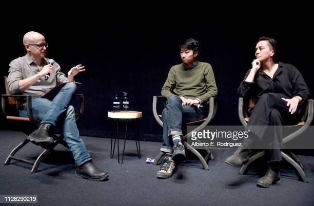 Moderator Logan Hill director of 'Minding The Gap' Bing Liu and director Alexandria Bombach of 'On Her Shoulders' speak onstage at the Talent Forum...