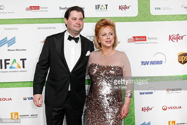 Moderator Marijke Amado and her son Kia Amadoattends the Green Tec Award at ICM Munich on May 29 2016 in Munich Germany