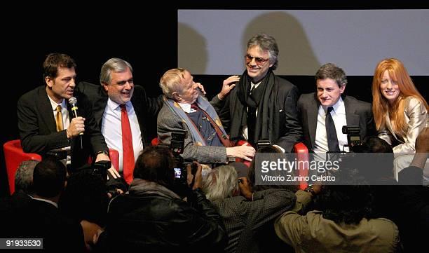 Moderator Mario Cutrufo Franco Zeffirelli Andrea Bocelli Gianni Alemanno and Michela Vittoria Brambilla attend the 'Omaggio A Roma' Press Conference...
