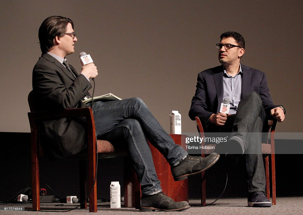 Moderator Mark Olsen of the LA Times (L) and writer/director/producer Sam Esmail speak onstage during the Saturday Keynote: Sam Esmail portion of the Film Independent Forum at the DGA Theater on October 22, 2016 in Los Angeles, California.