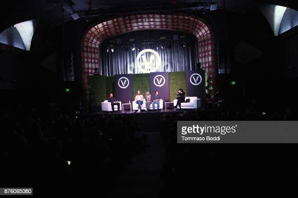 Moderator Mark Thompson founder of Mercy For Animals Nathan Runkle president of peta Ingrid Newkirk activist Marc Ching and tattoo artist Kat Von D...