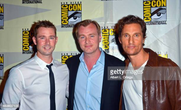 Moderator Matt Bean director Christopher Nolan and actor Matthew McConaughey at the 'Interstellar' panel for the Paramount Studios Presentation on...