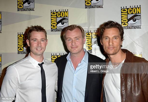 Moderator Matt Bean, director Christopher Nolan and actor Matthew McConaughey attend the Paramount Studios presentation during Comic-Con...