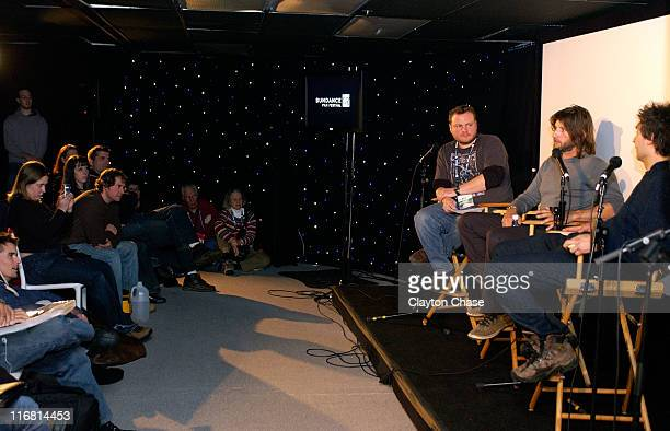 Moderator Matt Ferry editor Saar Klein and director Doug Liman attend Sharing A Vision' at New Frontier on Main during the 2008 Sundance Film...