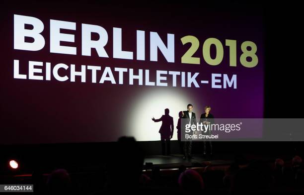 Moderator Matthias Killing talks with former long jumper Heike Drechsler during the Berlin 2018 European Athletics Championships Video Premiere at...