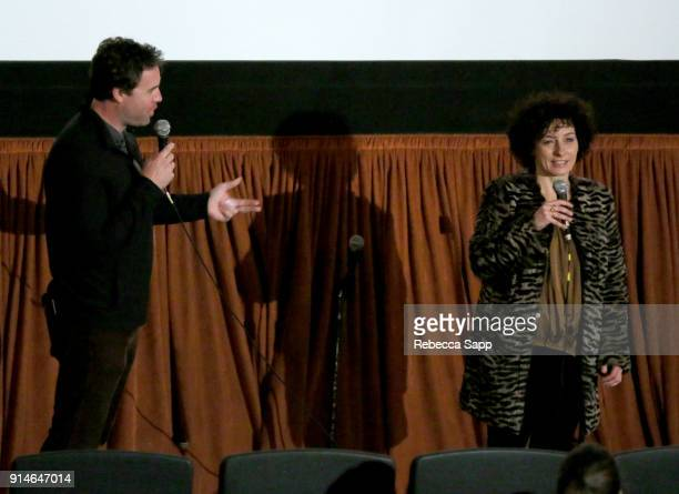 Moderator Michael Albright and actress Lidia Vitale speak at a screening of 'Tulipani Love Honour and a Bicycle' during The 33rd Santa Barbara...