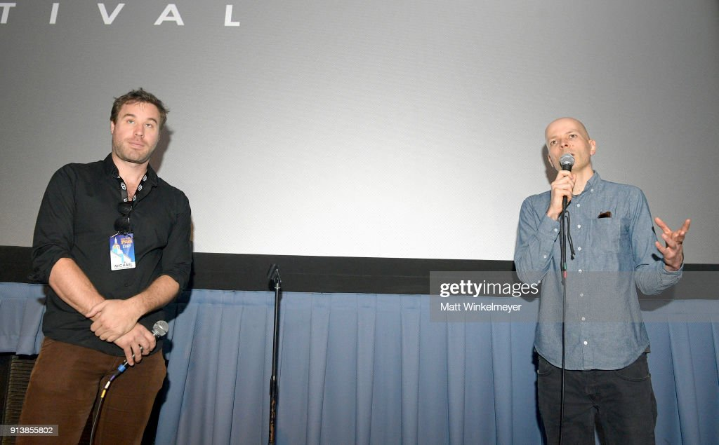 Moderator Michael Albright and director Marc Pierschel speak at a screening of 'The End of Meat' during the 33rd Santa Barbara International Film Festival at the Fiesta Theatre on February 3, 2018 in Santa Barbara, California.