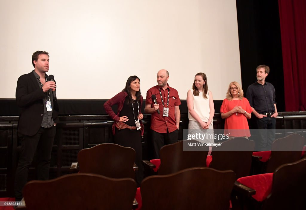 Moderator Michael Albright, filmmakers Nova Ami, Velcrow Ripper, Lauren Grant, Bonnie Thompson and David Christensen speak at a screening of 'Metamorphosis' during The 33rd Santa Barbara International Film Festival at the LoberoTheatre on February 2, 2018 in Santa Barbara, California.