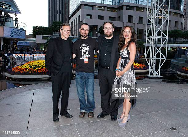 "Moderator Michael Donaldson, Filmmaker Yoav Potash, documentary subjects Joshua Safran, and Nadia Costa attend the ""Crime After Crime"" Screening..."