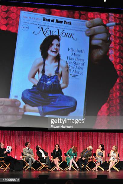 Moderator Michael Schnider Actors Jon Hamm Vincent Kartheiser Elisabeth Moss Christina Hendricks Robert Morse Jessica Pare Kiernan Shipka on stage at...