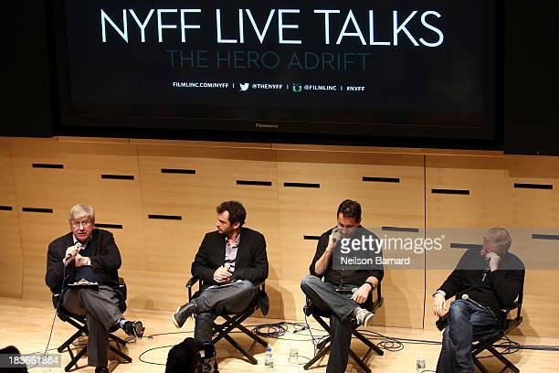 Moderator Michael Winship and writers Jonas Cuaron Chris Kentis and David Magee attends the Hero Adrift during the 51st New York Film Festival at...