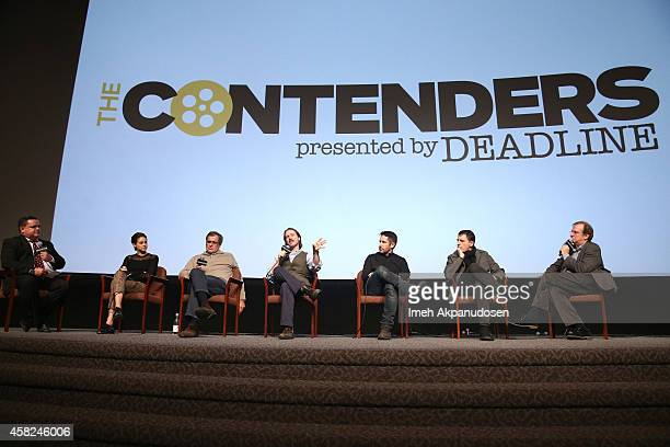 Moderator Mike Fleming actress Shailene Woodley producer Peter Chernin director Matt Reeves composers Trent Reznor and Atticus Ross and moderator...
