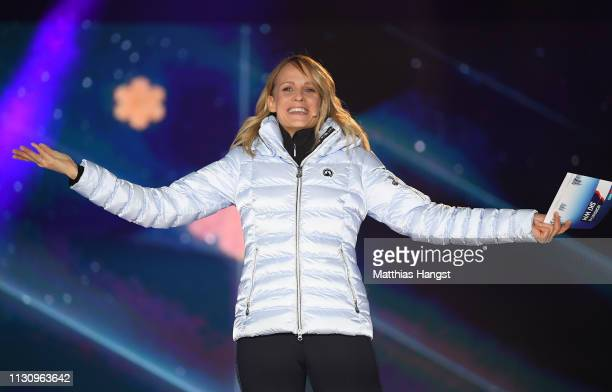 Moderator Miriam Weichselbraun is seen on stage during the opening ceremony for the FIS Nordic World Ski Championships on February 20, 2019 in...