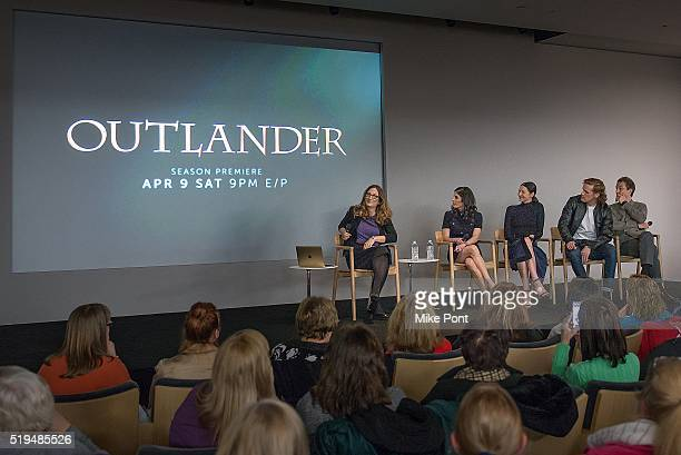 Moderator Missy Schwartz, Filmmaker Maril Davis and Actors Caitriona Balfe, Sam Heughan, and Tobias Menzies attend Apple Store Soho Presents Meet the...