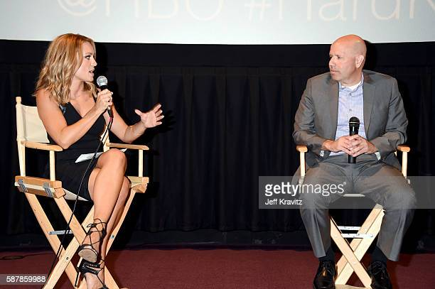 Moderator Molly McGrath and Senior Coordinating Producer at NFL Films Patrick Kelleher speak onstage during a QA following the LA premiere of HBO's...