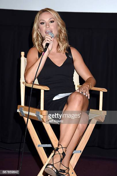 Moderator Molly McGrath speaks onstage during a QA following the LA premiere of HBO's Hard Knocks Training Camp With The Los Angeles Rams at Regal LA...