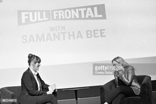 Moderator Molly Ringwald and Executive Producer Host Samantha Bee speak onstage during 'Full Frontal with Samantha Bee' FYC Event Los Angeles at The...