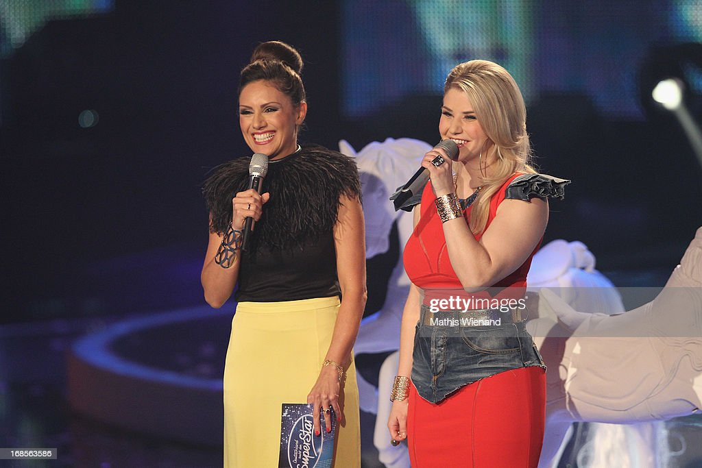 Moderator Nazan Eckes and Beatrice Egli at the 'Deutschland sucht den Superstar' Finals on May 11, 2013 in Cologne, Germany.