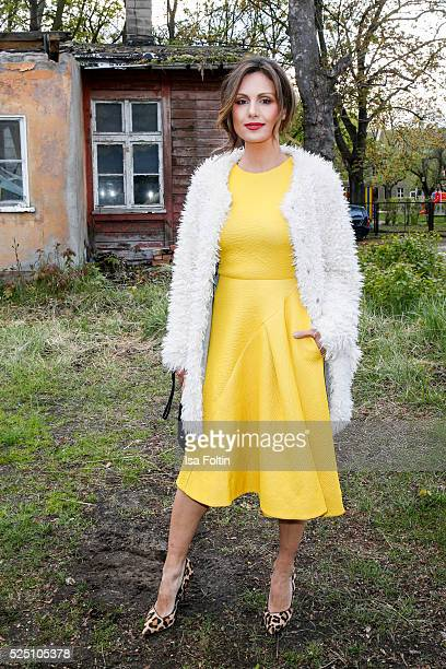 TV moderator Nazan Eckes wearing a dress of COS attends the presentation of a joint project by COS and Michael Sailstorfer on April 27 2016 in Berlin...