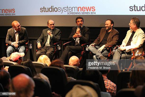Moderator Neil Turitz actor Bob Newhart executive producers Chuck Lorre Bill Prady and Steve Molaro speak during 'The Big Bang Theory' Special...