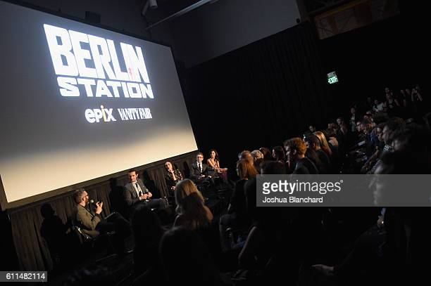 Moderator Nick Bilton actors Richard Armitage Michelle Forbes Leland Orser and Tamyln Tomita speak during EPIX 'Berlin Station' LA premiere at Milk...