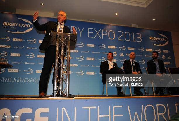 Moderator Nick Mullins of BT Sport with Mark McCafferty of Premiership Rugby Steve Martin of M and C Saachi Sport and Entertainment and Andrew Hore...