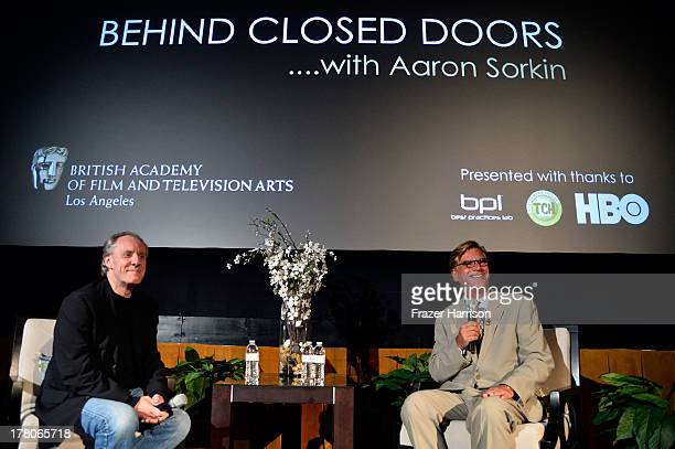 BAFTA LA Moderator Nick Redman with Screenwriter Aaron Sorkin on stage at BAFTA LA's 'Behind Closed Doors' With Aaron Sorkin on August 26 2013 in Los...