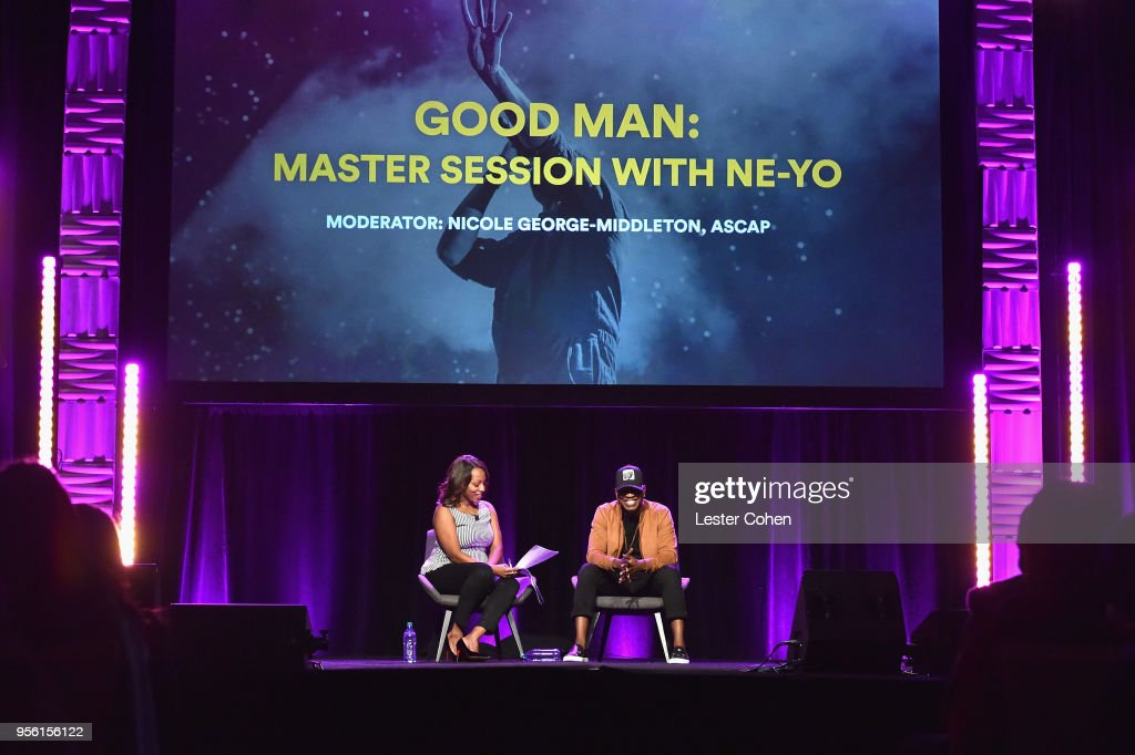 Moderator Nicole George-Middleton, Senior Vice President, Membership, ASCAP (L) and singer/songwriter producer Ne-Yo speak onstage during the 'GoodMan: Master Session with Ne-Yo' panel at The 2018 ASCAP 'I Create Music' EXPO at Loews Hollywood Hotel on May 8, 2018 in Hollywood, California.